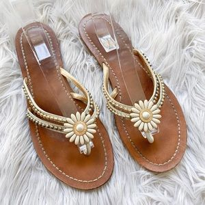 👠BOGO🆓Coach Genuine Leather Beaded Daisy Sandals